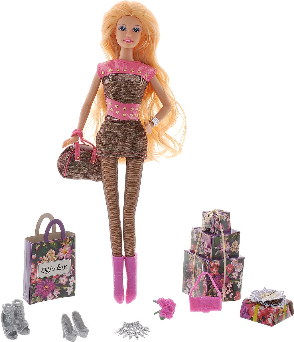 Defa Кукла Lucy цвет наряда черный розовый8285dКукла Defa Lucy обязательно понравится любой девочке и позволит ей погрузиться в сказочный мир волшебства. Очаровательная куколка одета в короткое блестящее платье и сетчатые колготки. На ногах у Lucy - розовые сапожки на каблуках. Вашей дочурке непременно понравится расчесывать и заплетать длинные светлые волосы куклы. В комплект с куклой входят дополнительные аксессуары, которые разнообразят игры. Руки, ноги и голова куклы подвижны, благодаря чему ей можно придавать различные позы. Благодаря играм с куклой ваша малышка сможет развить фантазию и любознательность, овладеть навыками общения и научиться ответственности.