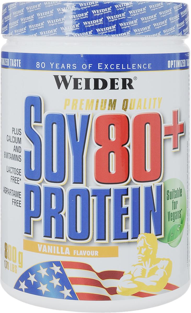 Соевый протеин Weider Soy Protein 80+, ваниль, 800 г30501Соевый протеин Weider Soy Protein 80+ идеален для формирования рельефа мускулатуры, когда нужно употреблять как можно меньше лактозы. Продукт обогащен всеми необходимыми атлету витаминами. Идеальное дополнение белка в рацион для вегетарианцев. Содержит витамины и кальций. Не содержит лактозы, глютена и аспартама. Рекомендации по применению: Во время фазы формирования рельефа принимать по 2-3 порции между основными приемами пищи. Рекомендации по приготовлению: 30 г порошка растворить в 300 мл соевого молока или воды. Состав: изолированный соевый протеин, гуаровая смола, цикламат натрия, ацесульфам калия, натрий сахарин, витамин С (аскорбиновая кислота), ниацин (ниацинамид), пантотеновая кислота (соль кальция), витамин В6 (гидрохлорид), рибофлавин (витамин В2), тиамин (витамин В1, гидрохлорид), витамин В12 (кобаламин). Энергетическая ценность (в одной порции на 300 мл воды): 108 ккал. Питательная ценность (в...