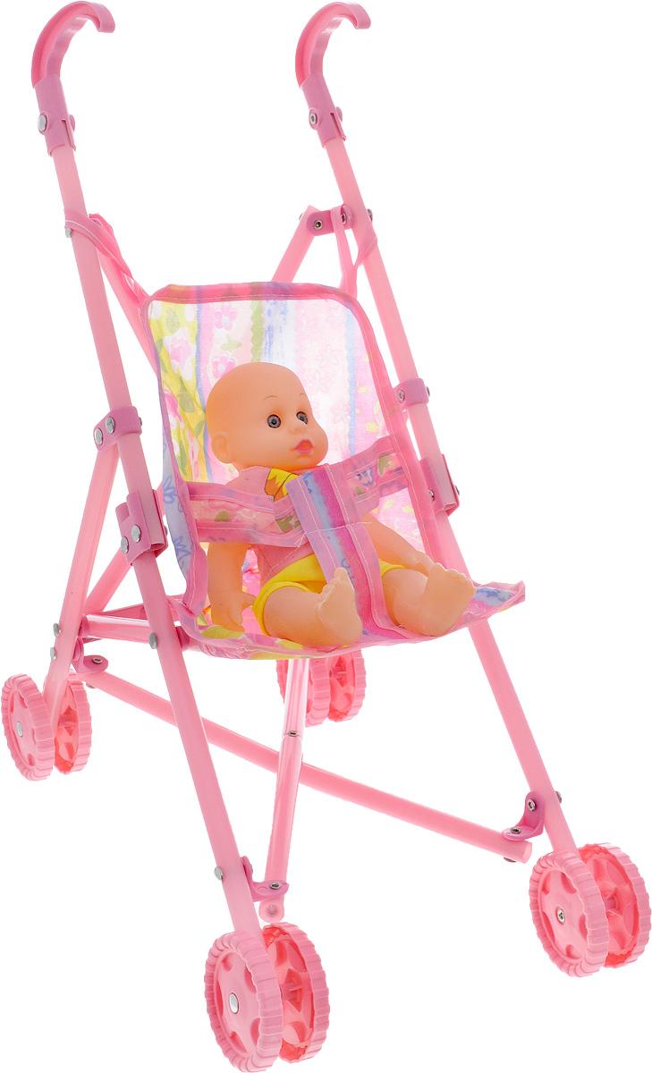 Junfa Toys Пупс София с коляской20265Очень легкая и компактная коляска-трость с маленьким пупсиком Junfa Toys Софией выполнена в розовых тонах, которые так нравятся девочкам. С такой колясочкой удобно ходить на прогулку, ведь при необходимости ее легко можно сложить и понести в руках или положить в багажник. В коляске можно катать не только пупса, который входит в комплект, но и другие игрушки, подходящие по размеру. Одежда куклы снимается, что дает возможность изменять ее гардероб. Пупс и коляска выполнены из качественных и безопасных материалов. Порадуйте свою малышку таким замечательным подарком!