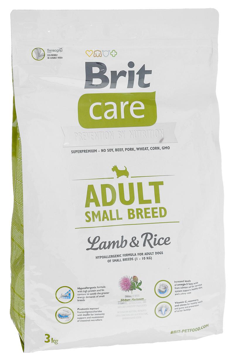 Корм сухой Brit Care Adult Small Breed для собак мелких пород, с ягненком и рисом, 3 кг100202Сухой корм Brit Care Adult Small Breed - это полноценный рацион для собак мелких пород. Оптимальное соотношение Омега-3 и Омега-6 жирных кислот с органическим цинком и медью обеспечивает здоровое состояние кожи и улучшает качество шерсти. Товар сертифицирован.