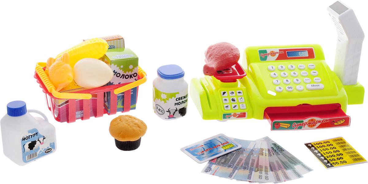 ABtoys Игрушечный набор Мои покупкиPT-00247Игрушечный набор ABtoys Мои покупки привлечет внимание своей яркой расцветкой. Касса повторяет механизм реального аппарата, оборудована выдвижным ящиком для денег, весами, а также считывателем штрих-кодов. В комплект входят игрушечные купюры, с помощью которых можно разыгрывать сценки покупки продуктов. Специальная корзинка, которую дети не раз видели в супермаркетах, позволит донести элементы еды до кассы. В набор входят игрушечные продукты: курица, початок кукурузы, сахар, молоко, яйцо, кекс и многие другие, они создадут атмосферу продовольственного магазина. Считыватель для штрих-кода демонстрирует типичный пикающий звук, словно настоящий! Световые эффекты сделают игру реалистичной. Для работы кассы необходимо купить 3 батарейки напряжением 1,5V типа АА (не входят в комплект). Для работы сканера необходимо купить 2 батарейки напряжением 1,5V типа АА (не входят в комплект).