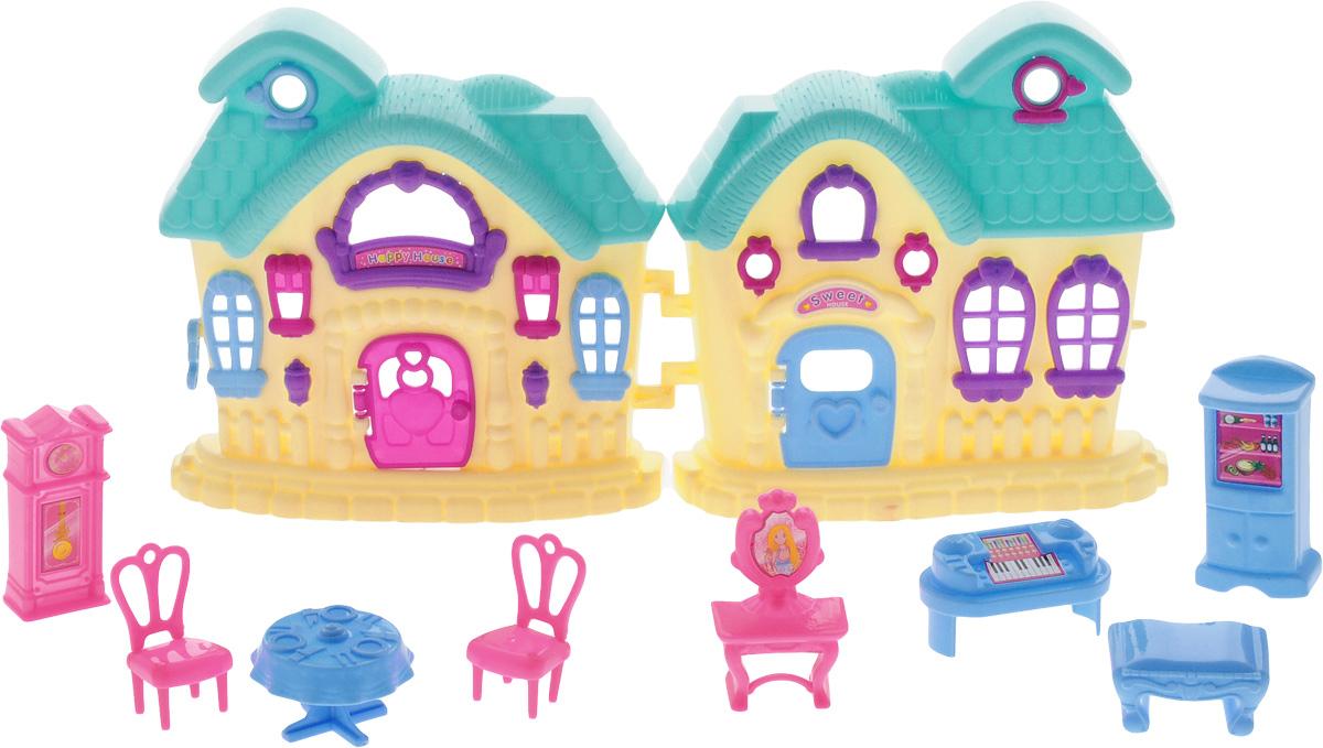 ABtoys Дом для кукол цвет желтый бирюзовыйPT-00388Шикарный дом для маленьких кукол ABtoys привлечет внимание вашей малышки и не позволит ей скучать. Комплект включает в себя пластиковый домик, холодильник, напольные часы, фортепиано, туалетный столик, 2 стула. стол и банкетку. Прекрасный дом оснащен окошками и открывающейся дверью. Такой набор придется по душе вашему ребенку. Порадуйте свою принцессу таким замечательным подарком!