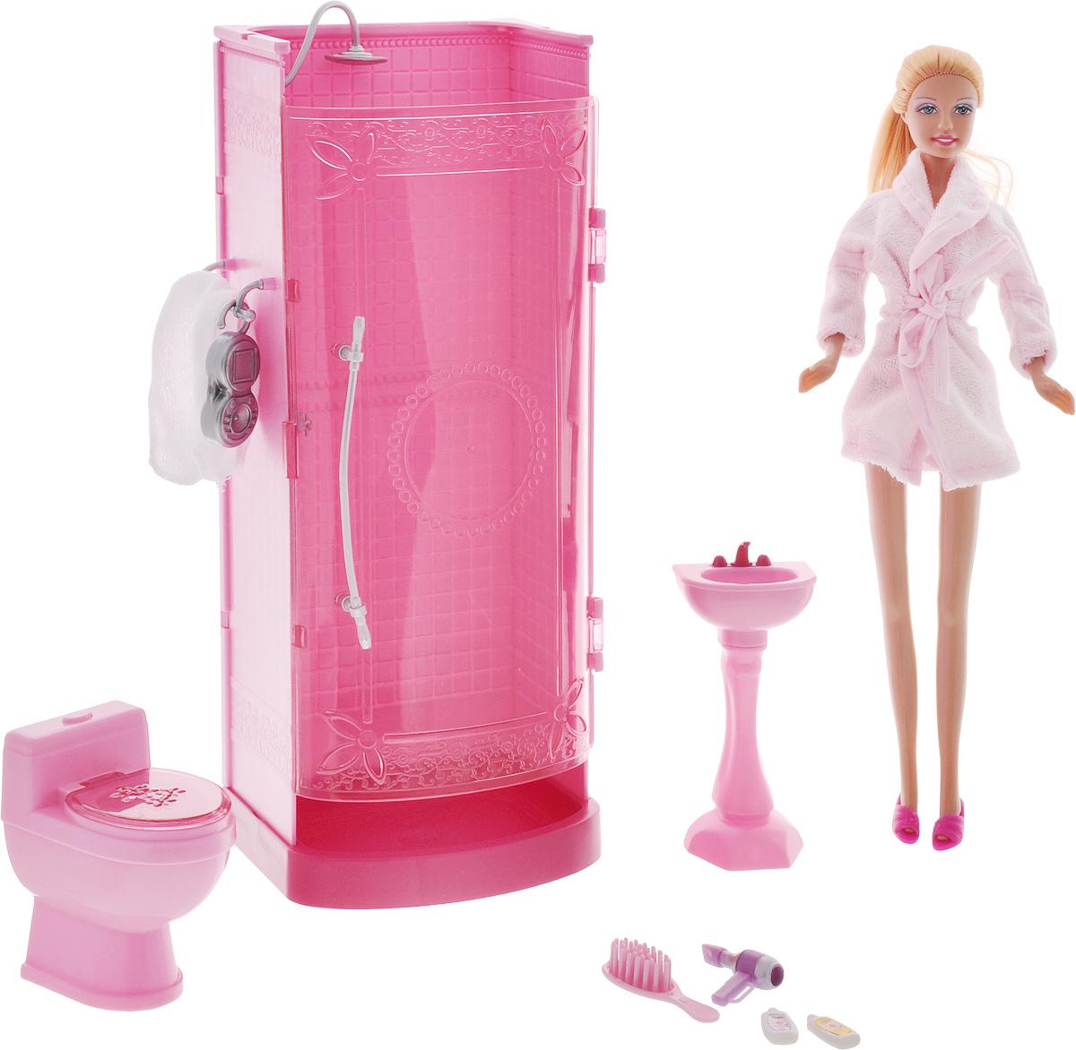 Defa Игровой набор Lucys Bathroom8215dИгровой набор Defa Lucys Bathroom - незабываемый подарок для вашей малышки! В набор входят душевая кабина, туалет, раковина и различные ванные принадлежности. Сама куколка как всегда выглядит потрясающе. У нее длинные светлые волосы, убранные в хвост. Одета кукла просто, по-домашнему - в розовый махровый халатик. Голова, ручки и ножки куклы подвижны. Набор изготовлен из качественных и безопасных материалов в розовых тонах. Ваша малышка будет часами играть с набором, придумывая различные истории. Порадуйте ее таким замечательным подарком!