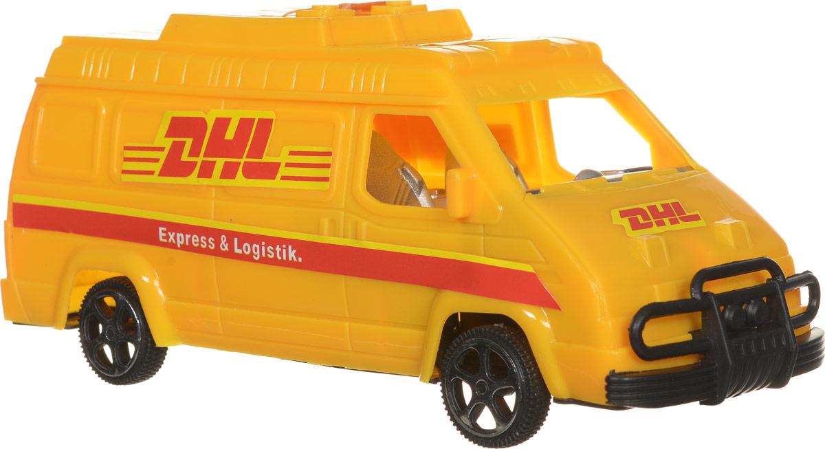 Junfa Toys Машинка инерционная DHLF366-1/WC-A8248Инерционная машинка Junfa Toys DHL обязательно привлечет внимание вашего ребенка. Игрушка выполнена из безопасного пластика в виде автофургона службы доставки DHL. Машинка хорошо детализирована, что непременно понравится малышу. Игрушка оснащена инерционным механизмом. Достаточно немного подтолкнуть машинку вперед или назад, а затем отпустить, и она сама поедет в том же направлении. Малыш проведет с этой игрушкой много увлекательных часов, устраивая гонки и придумывая различные истории. Ваш ребенок будет в восторге от такого подарка!
