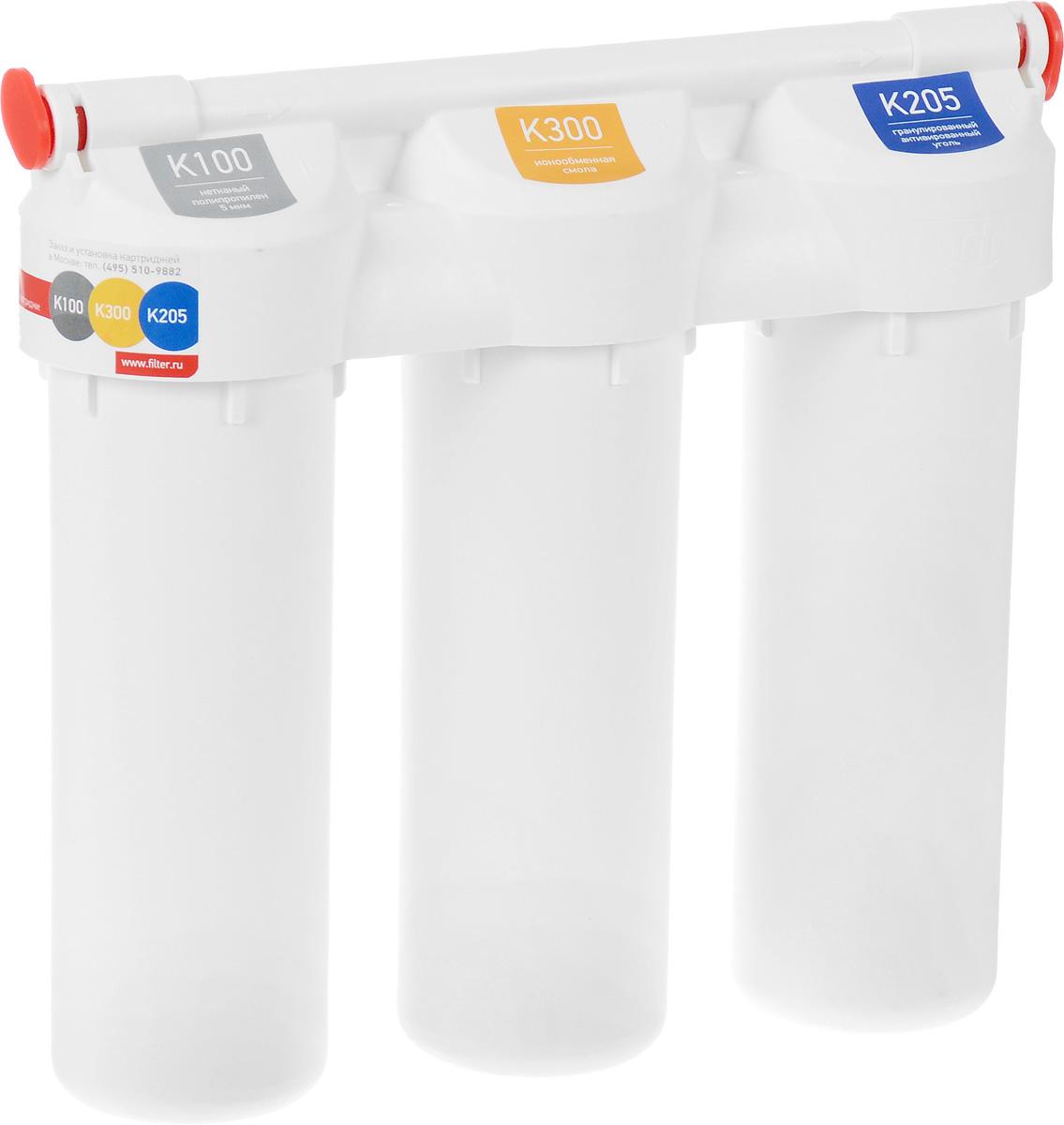 Фильтр под мойку Prio Praktic, для универсальной очистки водыEU 300Фильтр под мойку Prio Praktic обеспечивает универсальную очистку водопроводной воды от распространенных загрязнителей: механических примесей (ржавчины, ила, песка), растворенных примесей, таких как свободного хлора, хлорорганических соединений, пестицидов, гербицидов, сельскохозяйственных удобрений и продуктов их распада, фенолов, нефтепродуктов, алюминия, тяжелых металлов, радиоактивных элементов, солей жесткости и иных органических и неорганических веществ. Умягчает воду. Устраняет неприятные запахи, улучшает вкус воды, снижает количество накипи на посуде. Выдерживает давление воды до 28 Атм. Рекомендуется для регионов с водой, характеризующейся нормальным и повышенным содержанием солей жесткости. В комплект уже входят картриджи, отдельный кран для очищенной воды и все необходимое для быстрой установки фильтра на месте эксплуатации. Установленные картриджи: Картридж механической очистки K100. Нетканый полимер 5 мкм. Сорбционный картридж K205....