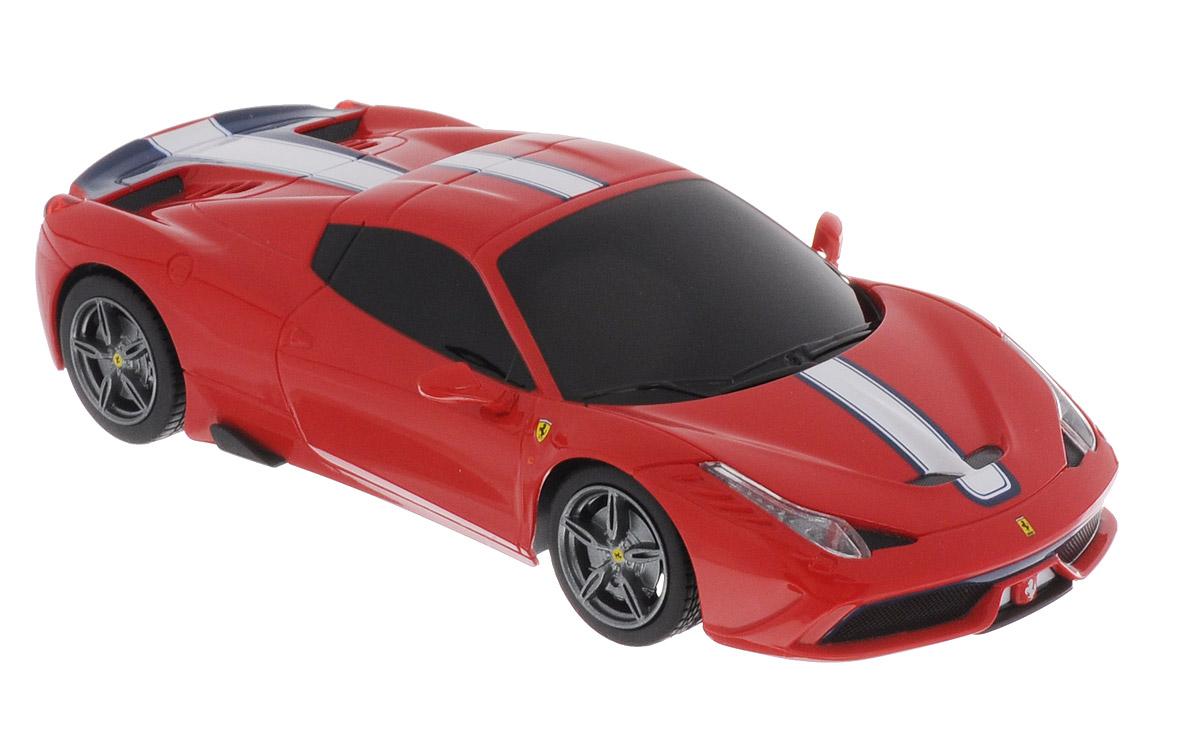 Rastar Радиоуправляемая модель Ferrari 458 Speciale A цвет красный71900_красныйРадиоуправляемая модель Rastar Ferrari 458 Speciale A является точной копией автомобиля Ferrari в масштабе 1/24. Модель обязательно вызовет интерес, как у детей, так и у взрослых. Модель автомобиля изготовлена из высококачественного пластика, шины выполнены из мягкой резины. Управление игрушкой происходит при помощи удобного пульта. Пульт управления работает на частоте 27 MHz. Автомобиль может перемещаться вперед-назад, поворачивать налево-направо, останавливаться. Ваш ребенок увлеченно будет играть с моделью, придумывая различные истории и устраивая соревнования. Порадуйте его таким замечательным подарком! Для работы автомобиля требуются 3 батарейки напряжением 1,5V типа АА (не входят в комплект). Для работы пульта управления требуются 2 батарейки напряжением 1,5V типа АА (не входят в комплект).