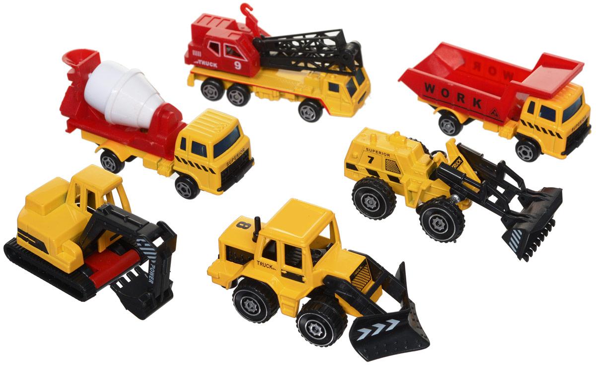 Junfa Toys Набор строительной техники 6 шт1803-4BНабор строительной техники Junfa Toys обязательно привлечет внимание вашего ребенка. Набор включает в себя бетономешалку, экскаватор, автокран, бульдозер, погрузчик, самосвал. Все машинки выполнены из металла с пластиковыми элементами в масштабе 1:72 к настоящей строительной технике и детально проработаны. Кабина экскаватора подвижна, ковш поднимается. Ковш погрузчика и плуг бульдозера поднимаются, кузов бетономешалки вращается. Кран поворачивается вокруг своей оси, его стрела поднимается. Колеса машинок свободно вращаются. Малыш проведет с этим набором много увлекательных часов, придумывая различные истории. Ваш ребенок будет в восторге от такого подарка!