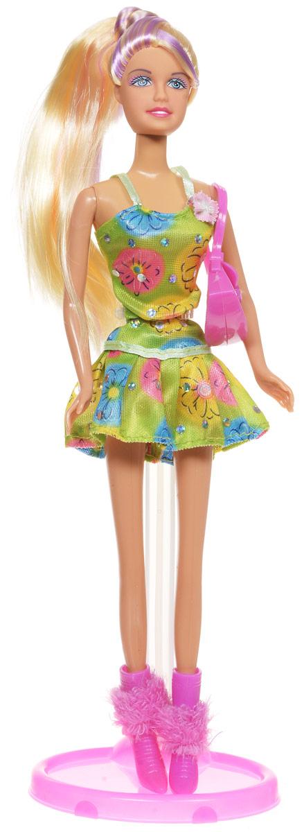 Defa Кукла Lucy цвет платья зеленый желтый голубой6015dКукла Defa Lucy обязательно понравится любой девочке и позволит ей погрузиться в сказочный мир волшебства. Очаровательная куколка одета в короткое летнее платье ярких цветов. На ногах у Lucy - розовые ботиночки на каблуках. Дополняет нарядный образ куклы розовая сумочка. Вашей дочурке непременно понравится расчесывать и заплетать длинные светлые волосы куклы. Руки, ноги и голова куклы подвижны, благодаря чему ей можно придавать различные позы. Благодаря играм с куклой ваша малышка сможет развить фантазию и любознательность, овладеть навыками общения и научиться ответственности.