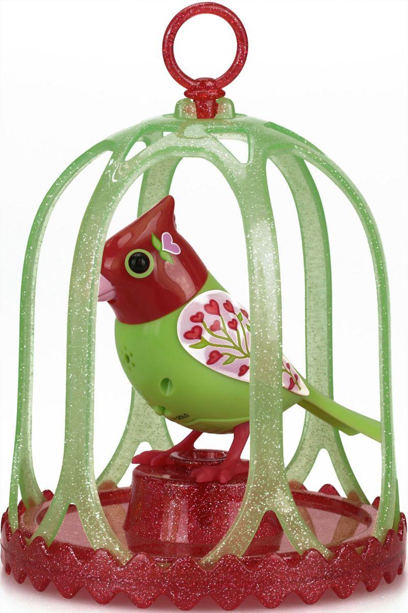 DigiBirds Интерактивная игрушка Птичка в клетке с кольцом цвет салатовый красный88295S-1Птичка DigiBirds- это забавная интерактивная игрушка, которая займет малыша на длительное время. Эта игрушка умеет выполнять разные действия: щебетать, петь песенки, при этом двигая головой и клювом. Если подуть на грудку птички, она начнет щебетать. Если подуть в свисток, птичка станет исполнять известную песенку. Игрушка воспроизводит свыше 55 музыкальных свистов. 2 режима работы игрушки: соло и хор. При переключении в режим хора, можно последовательно подсоединять птичек к главной, в результате они будут вместе исполнять песенки вслед за главной птичкой, и щебетать друг с другом. Птичка сидит в изящной клетке. Несколько клеток можно подвесить одну над другой. В комплекте с птичкой также идет свисток с удобным держателем для пальцев. Игрушка развивает музыкальный слух, любовь к музыке и животным. Для работы игрушки необходимы 3 батарейки напряжением 1,5V типа AG13/LR44 (товар комплектуется демонстрационными).