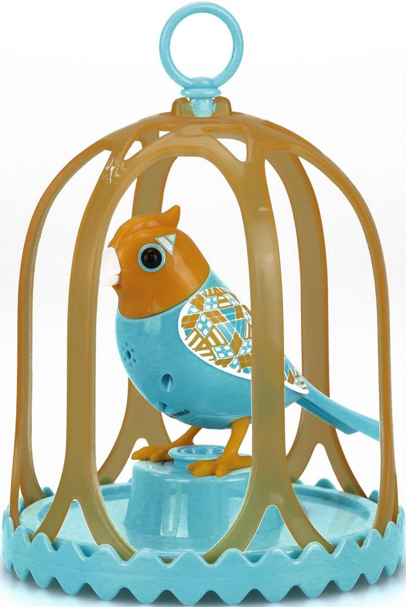 DigiBirds Интерактивная игрушка Птичка в клетке с кольцом цвет оранжевый голубой88295S-2Птичка DigiBirds - это забавная интерактивная игрушка, которая займет малыша на длительное время. Эта игрушка умеет выполнять разные действия: щебетать, петь песенки, при этом двигая головой и клювом. Если подуть на грудку птички, она начнет щебетать. Если подуть в свисток, птичка станет исполнять известную песенку. Игрушка воспроизводит 55 музыкальных мелодий и звуков. Птичка сидит в изящной клетке. В комплекте с птичкой имеется кольцо-свисток с удобным держателем для птички. Птичка DigiBirds работает в двух режимах: соло и хор. Можно синхронизировать неограниченное количество птиц, или других персонажей DigiFriends. В режиме хор птички могут петь вместе, они слышат друг друга и поют синхронно, благодаря встроенным сенсорам. В хоре всегда есть главная птица и подпевающие. Главной становится та, которую вы включили первой. Игрушка развивает музыкальный слух, любовь к музыке и животным. Для работы игрушки необходимы 3 батарейки...