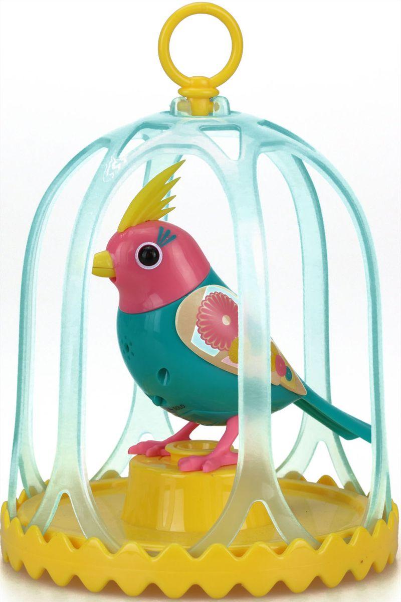 DigiBirds Интерактивная игрушка Птичка в клетке с кольцом цвет бирюзовый розовый