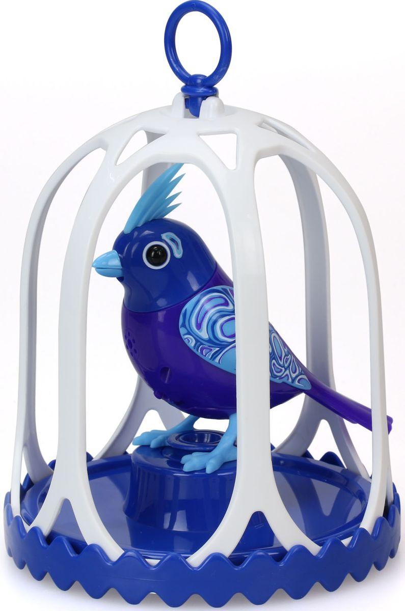 DigiBirds Интерактивная игрушка Птичка в клетке с кольцом цвет синий белый