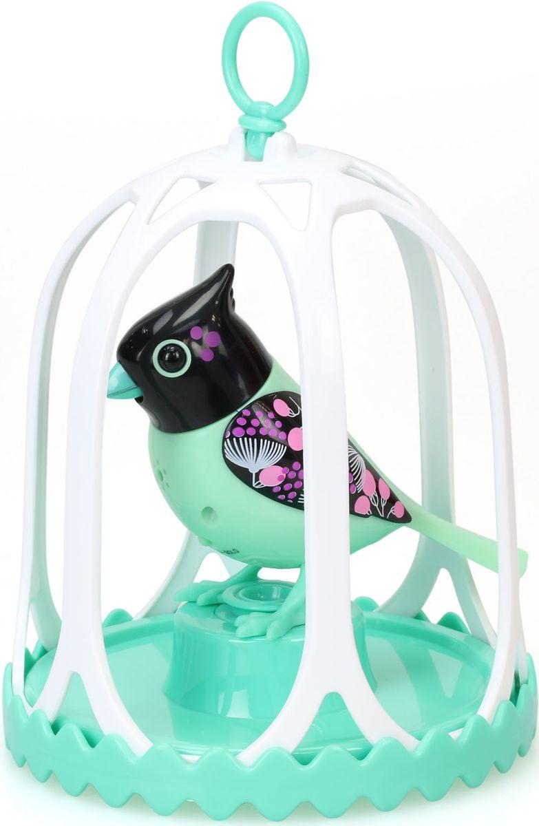 DigiBirds Интерактивная игрушка Птичка в клетке с кольцом цвет бирюзовый черный88295S-7Птичка DigiBirds- это забавная интерактивная игрушка, которая займет малыша на длительное время. Эта игрушка умеет выполнять разные действия: щебетать, петь песенки, при этом двигая головой и клювом. Если подуть на грудку птички, она начнет щебетать. Если подуть в свисток, птичка станет исполнять известную песенку. Игрушка воспроизводит свыше 55 музыкальных свистов. 2 режима работы игрушки: соло и хор. При переключении в режим хора, можно последовательно подсоединять птичек к главной, в результате они будут вместе исполнять песенки вслед за главной птичкой, и щебетать друг с другом. Птичка сидит в изящной клетке. Несколько клеток можно подвесить одну над другой. В комплекте с птичкой также идет свисток с удобным держателем для пальцев. Игрушка развивает музыкальный слух, любовь к музыке и животным. Для работы игрушки необходимы 3 батарейки напряжением 1,5V типа AG13/LR44 (товар комплектуется демонстрационными).
