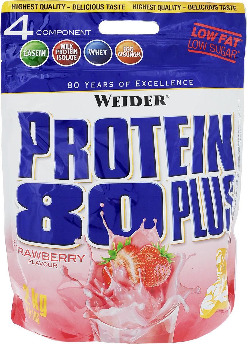 Протеин Weider Protein 80 Plus, клубника, 2 кг30129Протеин Weider Protein 80 Plus - это четырехкомпонентная белковая смесь с высокой биологической ценностью. Содержит 4 вида белка: изолят молочного белка, казеин, сыворотка, яичный альбумин. У каждого из этих белков своя скорость усвоения, что способствует постоянному и равномерному поступлению аминокислот в кровь. Препарат обеспечивает пиковую аминоконцентрацию уже в первые 60 минут после применения и поддерживает ее на протяжении 5 часов. Поэтому мышцы быстро растут и восстанавливаются, при этом растет сила и выносливость спортсмена. Этот протеиновый коктейль создан как дополнение к питанию с целью увеличения количества белка в дневном рационе. Состав: 58% казеинат кальция, 19% концентрат сывороточного протеина, 16% изолят молочного протеина, 3% сухой яичный белок, ароматизатор, краситель: свекольный порошок; регулятор кислотности: лимонная кислота, загуститель: гуаровая камедь, подсластители: ацесульфам К, аспартам; карбонат кальция, ...