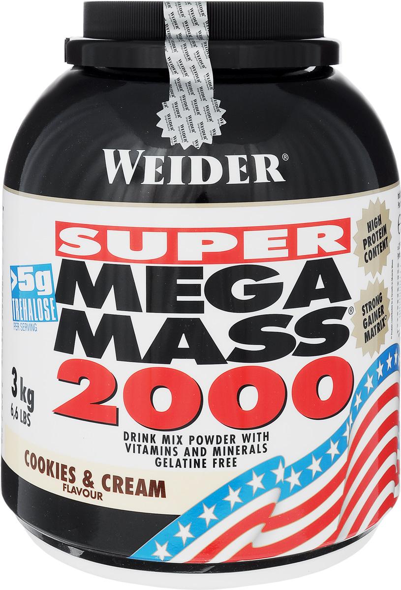 Гейнер Weider Мега Масс 2000, 3кг, крем и печенье32847Mega Mass 2000 - высококачественный продукт для наращивания мышечной массы. Белковая составляющая - это концентрат молочного протеина и изолят соевого протеина. Каждая порция Mega Mass 2000 содержит более 5 г трехалозы - соединение, участвующее в процессах роста, и 2,7 г таурина. В порции коктейля содержатся витамины и минералы в оптимальных количествах. В банке Mega Mass 2000 есть мерная ложка. Рекомендации по применению: Пейте один коктейль за 1-1,5 часа до тренировки. Вне тренировочные дни - между завтрака и обедом. Рекомендации по приготовлению: 90г порошка размешать в 300 мл молока до 1,5% жирности.