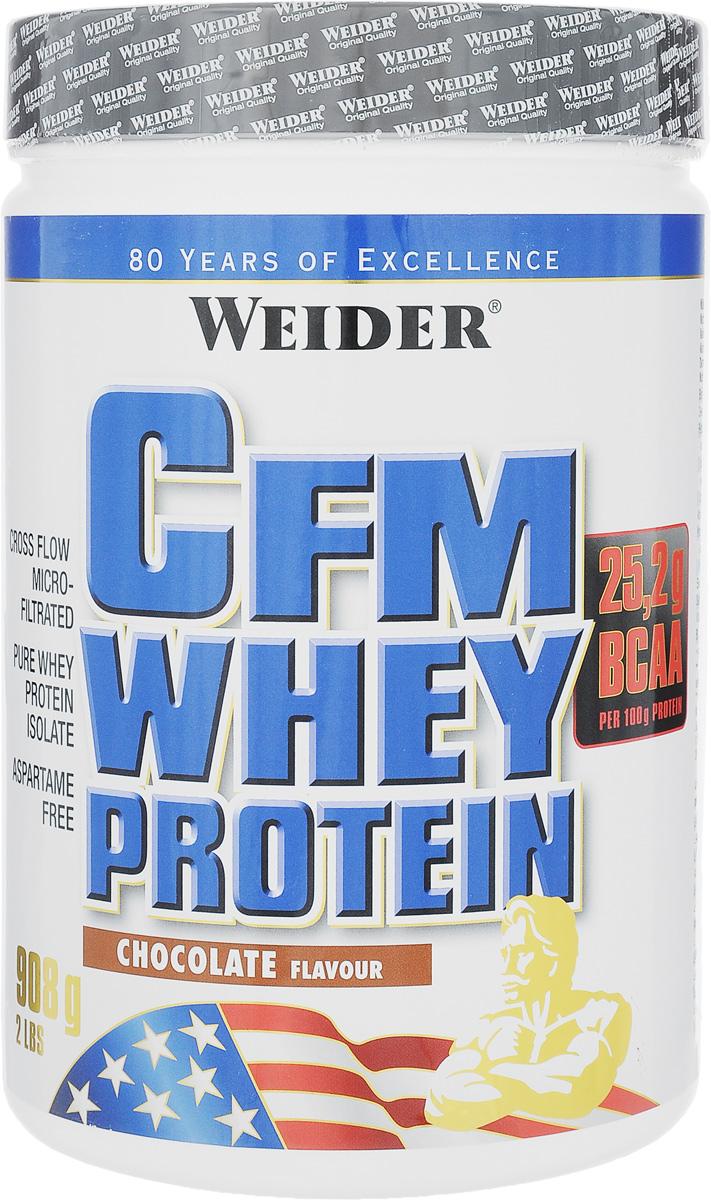 Изолят сывороточного протеина Weider CFM Whey Protein, шоколад, 908 г30341Протеин Weider CFM Whey Protein - сывороточный изолят с очень высоким содержанием незаменимых аминокислот (более 50%). Это чистый строительный материал для мышц. Отличительной чертой сывороточного протеина является его очень быстрое усвоение - около 30 минут. Это делает CFM Whey Protein незаменимым продуктом для построения мышечной массы. Первые 40 минут после силовой тренировки в мышцах наблюдается явление так называемой анаболической дыры. Это острейшая потребность мышц в аминокислотах. CFM - это новая запатентованная технология микрофильтрации перекрестных потоков. Благодаря перекрестной микрофильтрации изолят содержит 90% протеина в чистом виде, и его концентрация значительно выше, чем в обычных концентратах. CFM-сыворотку используют только лучшие из лучших производителей спортивного питания. CFM Whey Protein особенно ценен тем, что на 100 г сухого концентрата приходится почти 90 г белка, менее 0,9 г углеводов (технология Zero Carb) и 1 г жира. ...