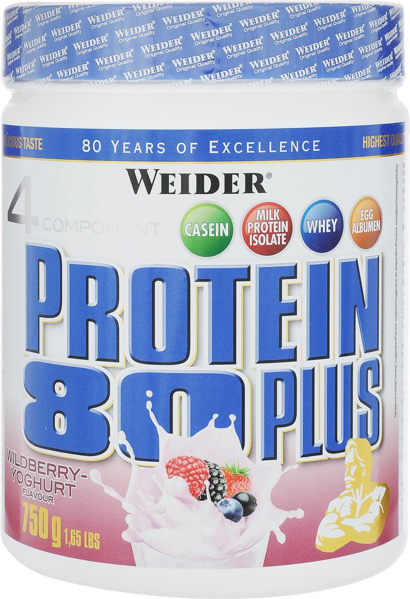 Протеин Weider Protein 80 Plus, лесные ягоды-йогурт, 750 г30181Протеин Weider Protein 80 Plus - это четырехкомпонентная белковая смесь с высокой биологической ценностью. Содержит 4 вида белка: изолят молочного белка, казеин, сывороточный протеин, яичный альбумин. Молочный белок (казеин): обеспечивает мускулатуру протеином в течение семи часов, содержит большое количество ВСАА. Изолят молочного белка: в сухом веществе содержится более 90% протеина. Это означает очень низкое содержание жиров и углеводов. Белок молочной сыворотки (Whey): быстро усваиваемый протеин. Снабжает мускулатуру L-глютамином. Яичный белок (альбумин): содержит так называемые сернистые аминокислоты. Это повышает биологическую ценность продукта. У каждого из этих белков своя скорость усвоения, что способствует постоянному и равномерному поступлению аминокислот в кровь. Препарат обеспечивает пиковую аминоконцентрацию уже в первые 60 минут после применения и поддерживает ее на протяжении 5 часов. Поэтому мышцы быстро растут и...