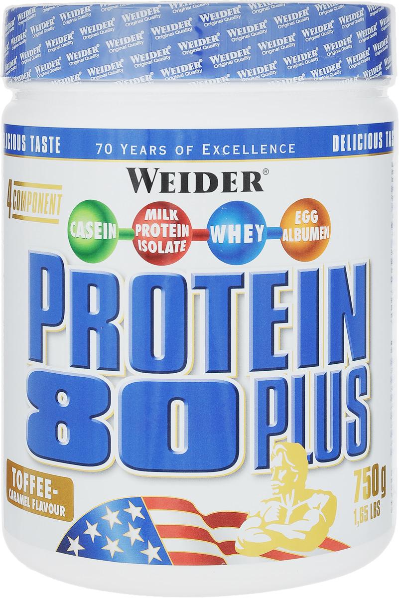 Протеин Weider Protein 80 Plus, ирис-карамель, 750 г30141Протеин Weider Protein 80 Plus - это четырехкомпонентная белковая смесь с высокой биологической ценностью. Содержит 4 вида белка: изолят молочного белка, казеин, сывороточный протеин, яичный альбумин. Молочный белок (казеин): обеспечивает мускулатуру протеином в течение семи часов, содержит большое количество ВСАА. Изолят молочного белка: в сухом веществе содержится более 90% протеина. Это означает очень низкое содержание жиров и углеводов. Белок молочной сыворотки (Whey): быстро усваиваемый протеин. Снабжает мускулатуру L-глютамином. Яичный белок (альбумин): содержит так называемые сернистые аминокислоты. Это повышает биологическую ценность продукта. У каждого из этих белков своя скорость усвоения, что способствует постоянному и равномерному поступлению аминокислот в кровь. Препарат обеспечивает пиковую аминоконцентрацию уже в первые 60 минут после применения и поддерживает ее на протяжении 5 часов. Поэтому мышцы быстро растут и...