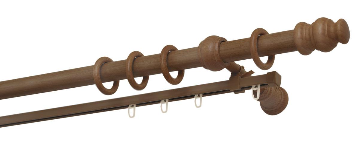 Карниз двухрядный Уют, деревянный, составной, цвет: вишня, диаметр 28 мм, длина 2,5 м28.02ТО.37С.250Двухрядный круглый карниз Уют Ост выполнен из высококачественного дерева. Подходит для использования двух видов занавесей. Поверхность гладкая. Способ крепления настенное. В комплект входят 2 штанги, 4 наконечника, 3 кронштейна с крепежом и 52 кольца с крючками. Такой карниз будет органично смотреться в любом интерьере. Диаметр карниза: 28 мм.