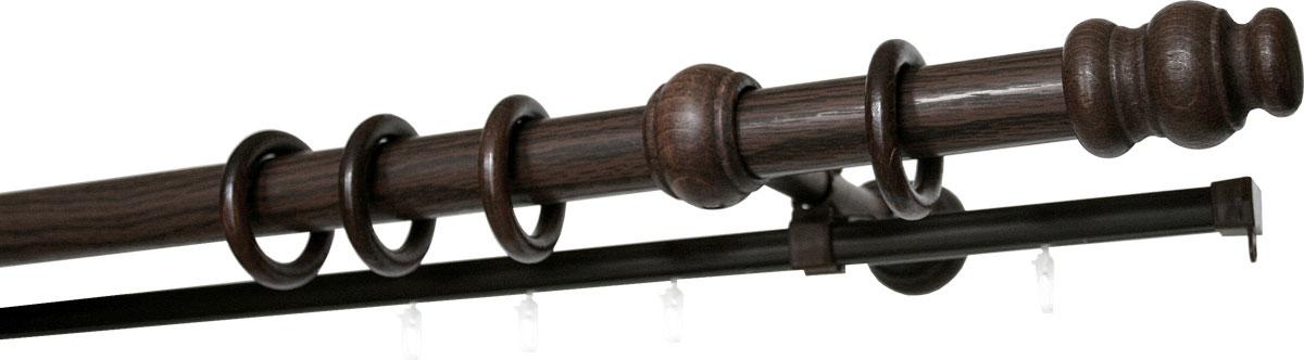 Карниз двухрядный Уют, деревянный, составной, цвет: венге, диаметр 28 мм, длина 2,75 м28.02ТО.33ВС.275Двухрядный круглый карниз Уют Ост выполнен из высококачественного дерева. Подходит для использования двух видов занавесей. Поверхность гладкая. Способ крепления настенное. В комплект входят 2 штанги, 4 наконечника, 3 кронштейна с крепежом и 56 колец с крючками. Такой карниз будет органично смотреться в любом интерьере. Диаметр карниза: 28 мм.