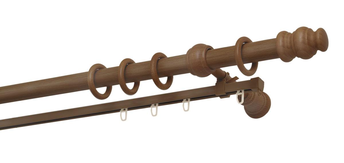 Карниз двухрядный Уют, деревянный, составной, цвет: дуб, диаметр 28 мм, длина 2,5 м28.02ТО.36С.250Двухрядный круглый карниз Уют Ост выполнен из высококачественного дерева. Подходит для использования двух видов занавесей. Поверхность гладкая. Способ крепления настенное. В комплект входят 2 штанги, 4 наконечника, 3 кронштейна с крепежом и 52 кольца с крючками. Такой карниз будет органично смотреться в любом интерьере. Диаметр карниза: 28 мм.