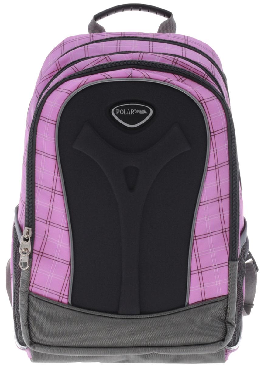 Рюкзак детский городской Polar, 17 л, цвет: розовый. П3068-17П3068-17Полностью вентилируемая и удобная мягкая спинка, мягкие плечевые лямки создают дополнительный комфорт приношении. Основное отделение с внутренним отделением для ноутбука диагональю 14 Большие карманы для аксессуаров и персональных вещей. Два боковых сетчатых кармана под бутылку с водой на резинке. Регулирующая грудная стяжка с удобным фиксатором. Материал Polyester Oxford PU 600D.