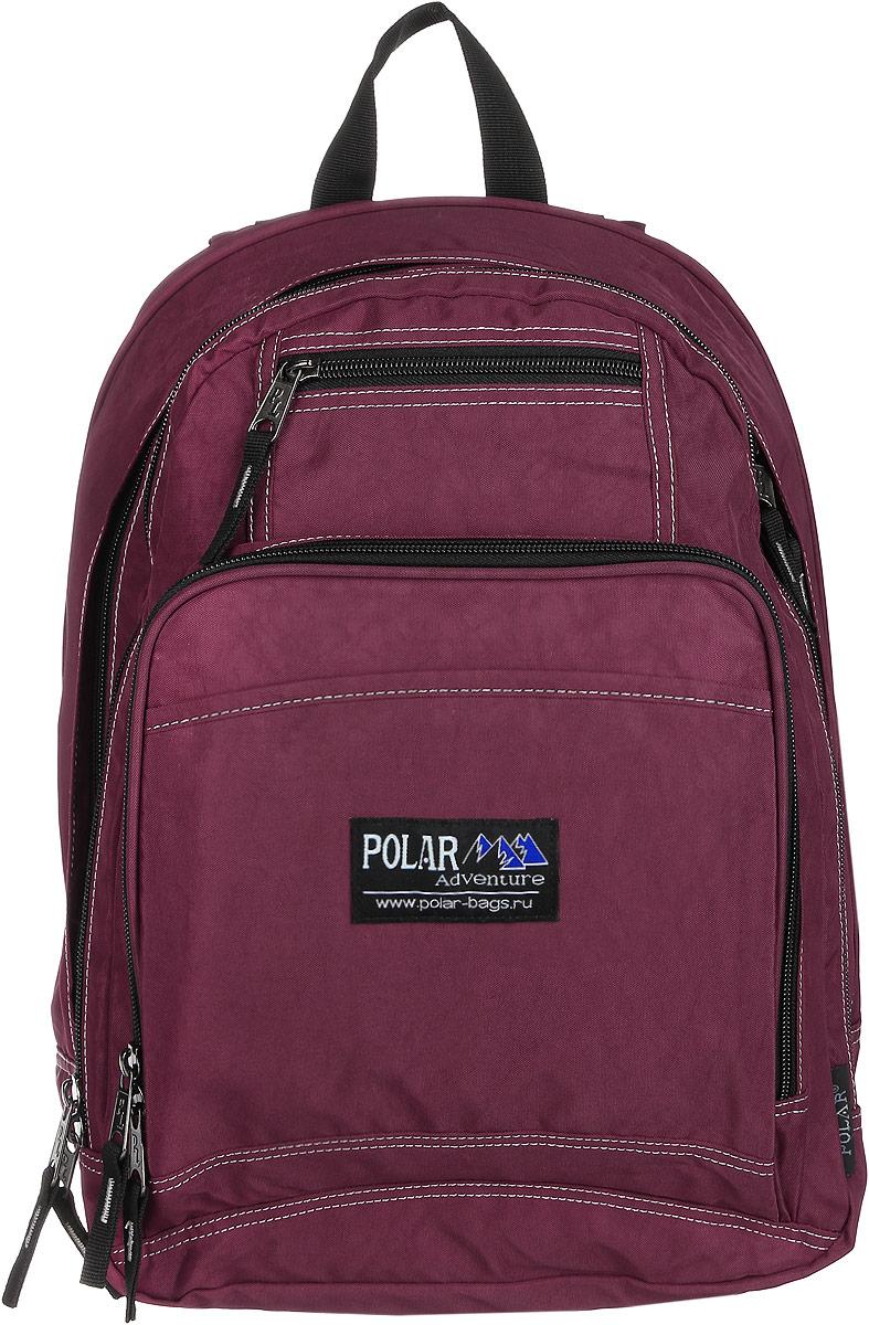 Рюкзак городской Polar, 15 л, цвет: бордовый. П1224-14П1224-14Вместительный рюкзак для учебы и отдыха. Ортопедическая спинка с вертикальными комбинированными вставками из пены и трикотажной сетки для облегчения циркуляции воздуха, удобные лямки с грудной стяжкой лямок, позволяют снять нагрузку со спины, и делает этот рюкзак необычайно удобным при эксплуатации. Два отделения с дополнительным карманом на молнии (паспорт, документы) и отделениями внутри. Карман с органайзером и два небольших кармана для мелких предметов. Рюкзак выполнен из полиэстера с водоотталкивающей пропиткой.