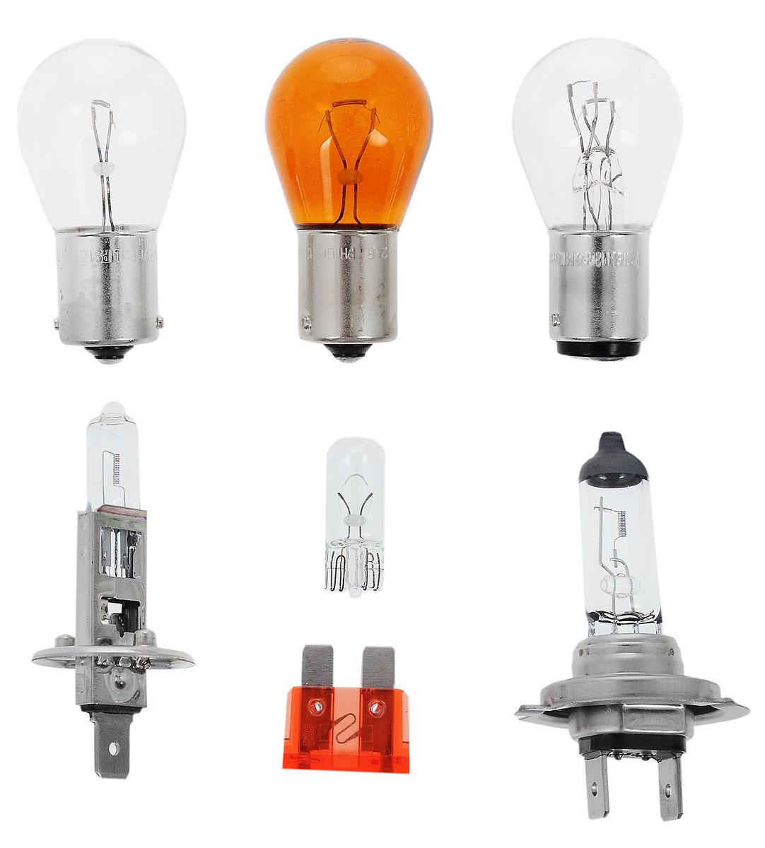 Комплект ламп Philips H1PR, H7PR, P21W, P21/5W, PY21W, W5W, Fuse10A. 55475EKKM55475EKKMВ комплект Easy Kit входят лампы H1 и H7 для автомобильных фар, обеспечивающие на 30 % больше света. Наши лампы излучают мощный точно направленный луч света и характеризуются высокой светоотдачей, увеличивая видимость Вашего автомобиля на дороге.