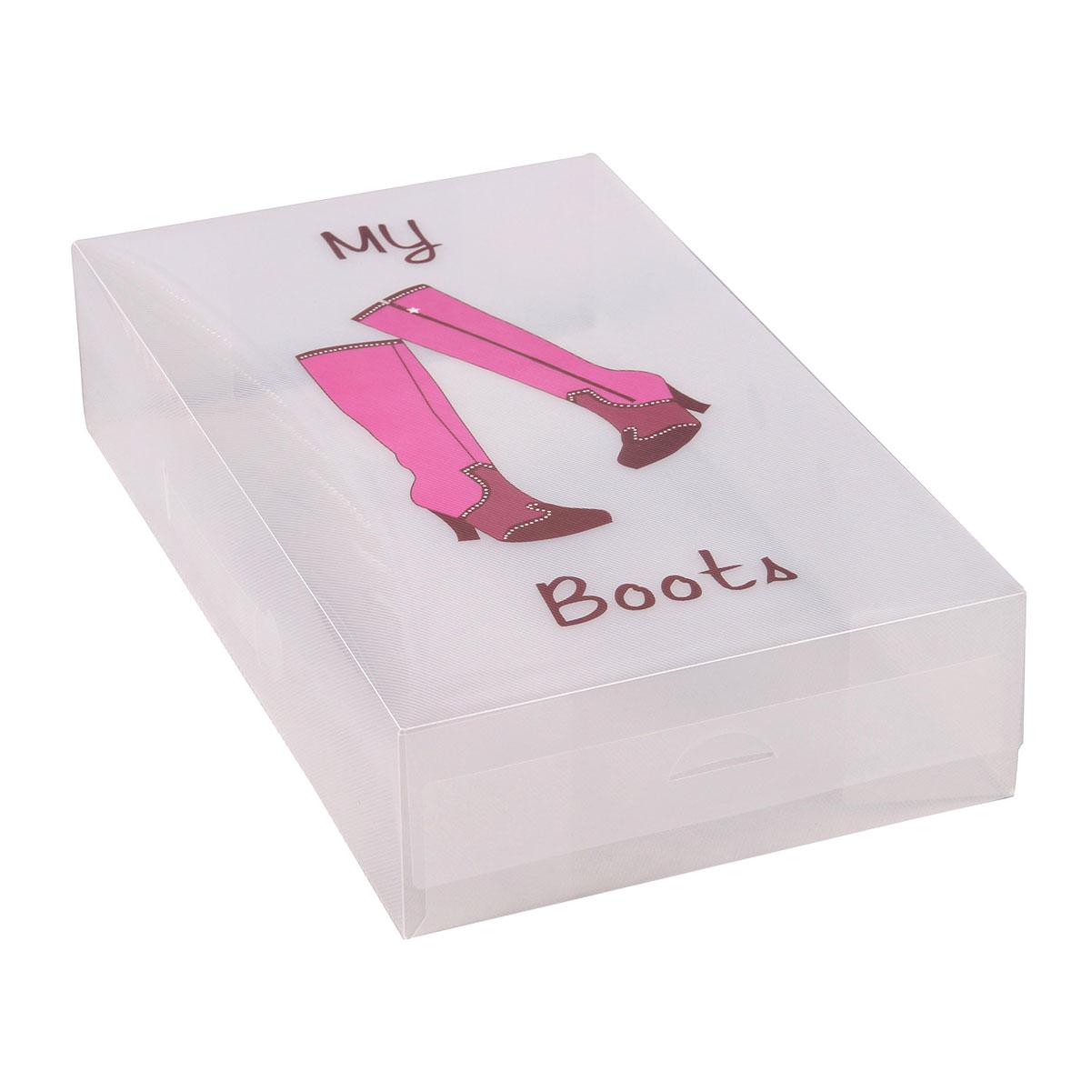 Короб для xранения обуви Miolla, 52 x 30 x 11 см. PLS-2PLS-2Удлиненный короб для обуви от Miolla превратит хранение сапог из головной боли в сплошное удовольствие. Жесткий и вместительный, он создан для обуви с длинным голенищем, которая после сезона ношения обычно неаккуратно убирается вглубь обувного шкафа из-за своих нестандартных размеров. Теперь можно не пренебрегать дорогими вещами, а с умом хранить любые сапоги в удобном и прочном коробе.