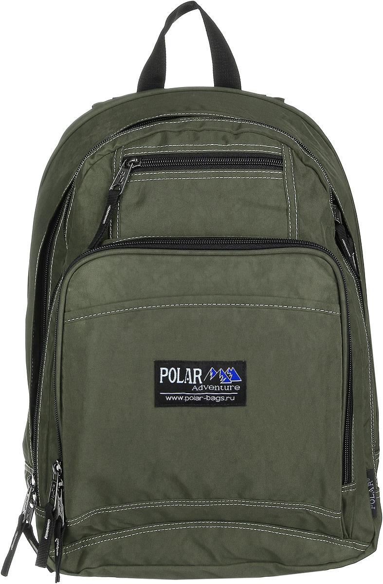 Рюкзак городской Polar, 15 л, цвет: темно-зеленый. П1224-08П1224-08Вместительный рюкзак для учебы и отдыха. Ортопедическая спинка с вертикальными комбинированными вставками из пены и трикотажной сетки для облегчения циркуляции воздуха, удобные лямки с грудной стяжкой лямок, позволяют снять нагрузку со спины, и делает этот рюкзак необычайно удобным при эксплуатации. Два отделения с дополнительным карманом на молнии (паспорт, документы) и отделениями внутри. Карман с органайзером и два небольших кармана для мелких предметов. Рюкзак выполнен из полиэстера с водоотталкивающей пропиткой