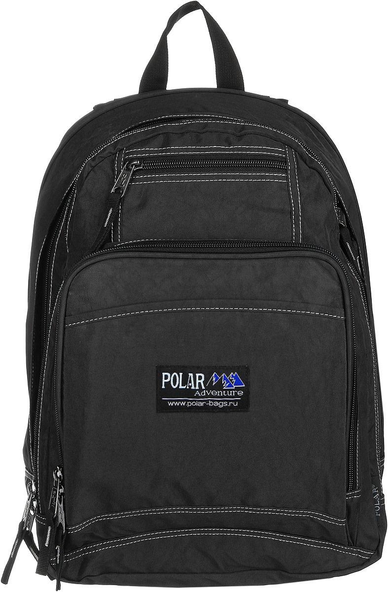 Рюкзак городской Polar, 15 л, цвет: черный. П1224-05П1224-05Вместительный рюкзак для учебы и отдыха. Ортопедическая спинка с вертикальными комбинированными вставками из пены и трикотажной сетки для облегчения циркуляции воздуха, удобные лямки с грудной стяжкой лямок, позволяют снять нагрузку со спины, и делает этот рюкзак необычайно удобным при эксплуатации. Два отделения с дополнительным карманом на молнии (паспорт, документы) и отделениями внутри. Карман с органайзером и два небольших кармана для мелких предметов. Рюкзак выполнен из полиэстера с водоотталкивающей пропиткой
