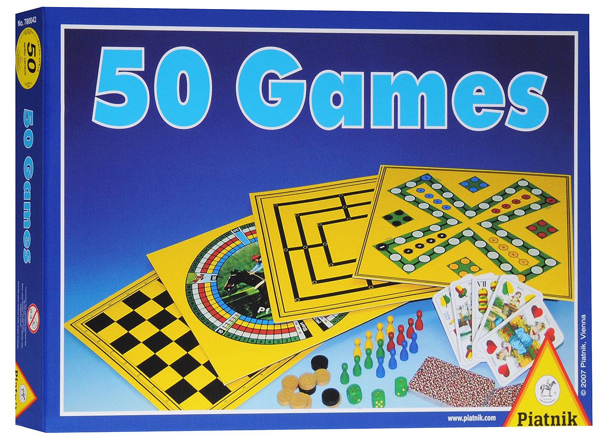 Piatnik Настольная игра 50 Games78004250 развивающих игр в одной упаковке! Для игр в веселой компании друзей на отдыхе. Для мальчиков и девочек. Теперь вашим деткам и их друзьям не придется скучать! В этом наборе вы и для себя найдете что-нибудь интересное. Игры помогут развить ребенку логику мышления! В набор входят: шахматы, различные игровые поля, фишки, кубики, инструкция для пятидесяти игр на русском языке.