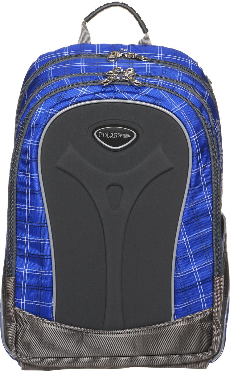 Рюкзак детский городской Polar, 17 л, цвет: синий. П3068-04П3068-04Полностью вентилируемая и удобная мягкая спинка, мягкие плечевые лямки создают дополнительный комфорт приношении. Основное отделение с внутренним отделением для ноутбука диагональю 14 Большие карманы для аксессуаров и персональных вещей. Два боковых сетчатых кармана под бутылку с водой на резинке. Регулирующая грудная стяжка с удобным фиксатором. Материал Polyester Oxford PU 600D.