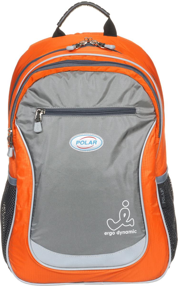 Рюкзак детский городской Polar, 17,5 л, цвет: оранжевый. П0087-02П0087-02Школьный рюкзак Polar. У рюкзака 2 отделения и несколько карманов для мелких принадлежностей. В большом отделение имеется карман под ноутбук диагональю 14. Спинка эргономичной формы, повторяет контур спины ребенка, тем самым равномерно распределяет нагрузку на позвоночник. Полумягкое дно для безопасности ношения. С обеих сторон имеются карманы для бутылок с водой. Светоотражатели спереди и сзади школьного рюкзака. Гибкая петля для того, чтобы подвесить ранец на крючок. Подходит для 1-6 классов.