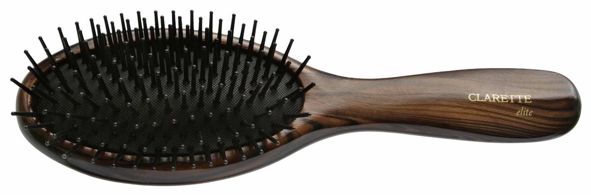 Clarette Щетка для волос на подушке с пластиковыми зубцами, цвет: коричневыйCEB 330Clarette Elite представляет серию Шоколад. Это интересная коллекция инструментов по уходу за волосами. Она несомненно понравится покупателям, которые ценят стиль и качество. Инструменты Коллекции изготовлены из натурального дерева, имеющего оригинальный окрас. Щетка на большой подушке идеально прочесывает даже густые и длинные волосы. Пластиковые зубья с массажными шариками обеспечивают массаж кожи головы, стимулируя рост волос. Инструменты предназначены как для домашнего, так и для профессионального использования.