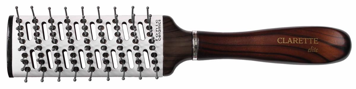 Clarette Щетка для волос вентиляционная керамика, цвет: коричневыйCEB 410Clarette Elite представляет серию Шоколад. Это интересная коллекция инструментов по уходу за волосами. Она несомненно понравится покупателям, которые ценят стиль и качество. Инструменты Коллекции изготовлены из натурального дерева, имеющего оригинальный окрас. Предназначина для укладки волос с помощью фена. Воздухопроницаемый металлический корпус с керамическим покрытием обеспечивает быструю укладку волос с помощью фена. Отверстия в основании щетки обеспечивают равномерный объем и пышность прически. Инструменты предназначены как для домашнего, так и для профессионального использования
