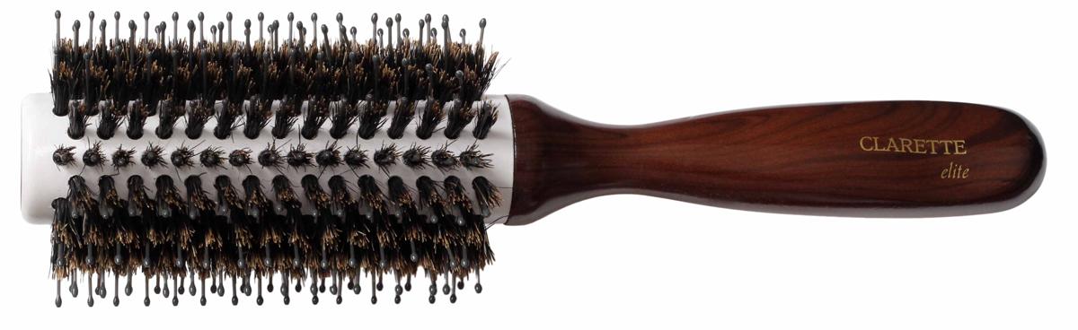 Clarette Щетка для волос круглая, цвет: коричневыйCEB 411Clarette Elite представляет серию Шоколад. Это интересная коллекция инструментов по уходу за волосами. Она несомненно понравится покупателям, которые ценят стиль и качество. Инструменты Коллекции изготовлены из натурального дерева, имеющего оригинальный окрас. Натуральная щетина дикого кабана придает волосам блеск, предостерегает ломкость и сечение волос. Пластиковая щетина позволяет более тщательно распутывать и прочесывать волосы, придавая им необходимую форму при укладке. Инструменты предназначены как для домашнего, так и для профессионального использования.