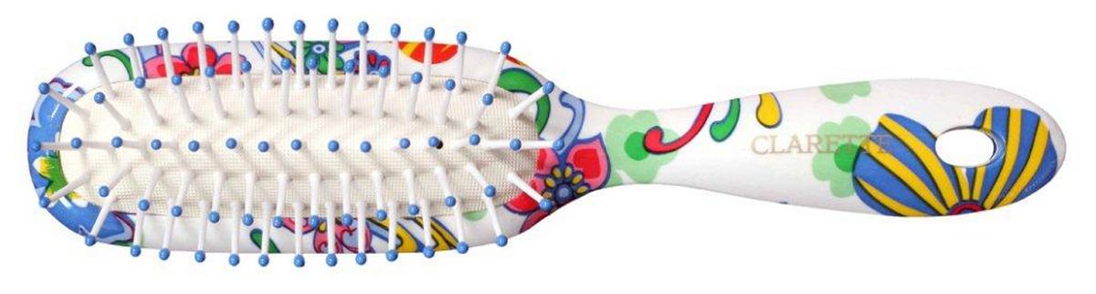 Clarette Щеткадля волос на подушке узкая, цвет: синийCFB 395Коллекция Сlarette Fleur- это расчески и щетки для волос из облегченного пластика. Яркая цветовая расцветка напоминает нам о долгожданном лете и улучшает наше настроение. Незаменнима для отпуска. Пластиковые зубья с массажными шариками обеспечивают массаж головы, стимулируя рост волос