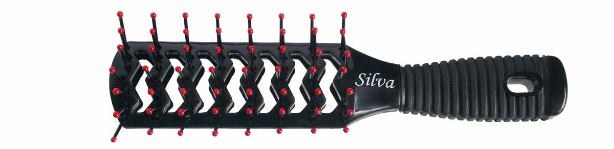 Silva Щетка для волос для укладки с вентиляционными отверстиями, цвет: черный, малиновый ( SB 234 )