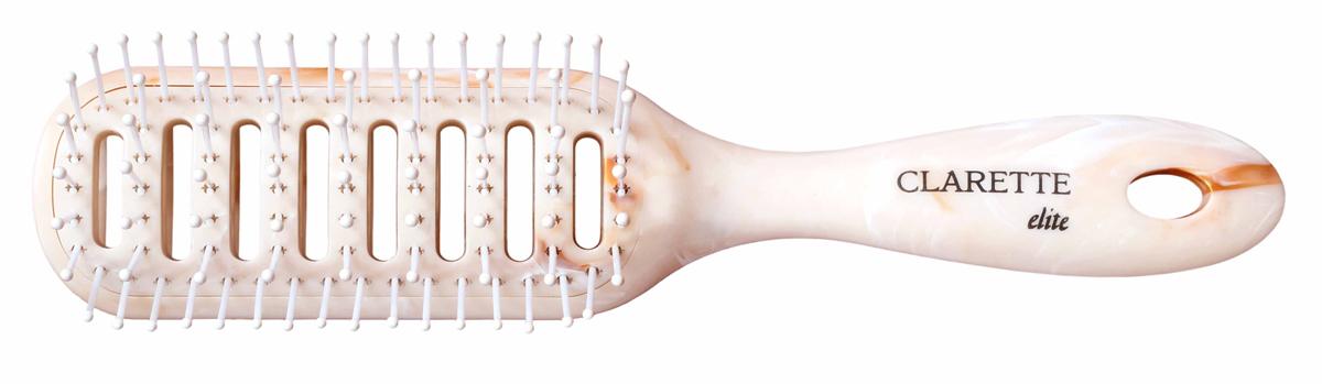 Clarette Щеткадля волос вентиляционная, цвет: бежевыйCEM 405Коллекция Clarette Elite Легкий Мрамор представляет элитную серию щеток и брашингов для расчесывания и укладки. волос любого типа. Коллекция выполена в стиле мрамора и выглядит очень элегантно. Изготовлена из высокотехнологичичного облегченного пластика. Вентиляционные отверсия обеспечивают легкий доступ воздуха при использовании фена. Подходит для профессионального применения