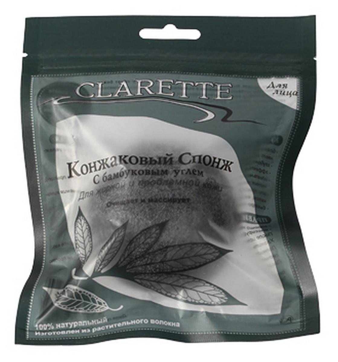Clarette Конжаковый спонж с бамбуковым углем для лица,черный