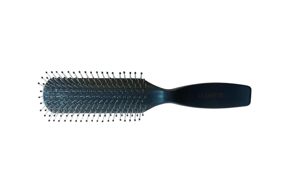 Clarette Щетка для волос с гибкими нейлоновыми зубцами, цвет: синийCPB 527Коллекция Clarette Перламутр- это расчески, щетки и термо-брашинги для ухода за волосами. Коллекция изготовлена из перламутрового пластика в яркой цветовой гамме. Легко поднимает корни волос, придавая объем прическе
