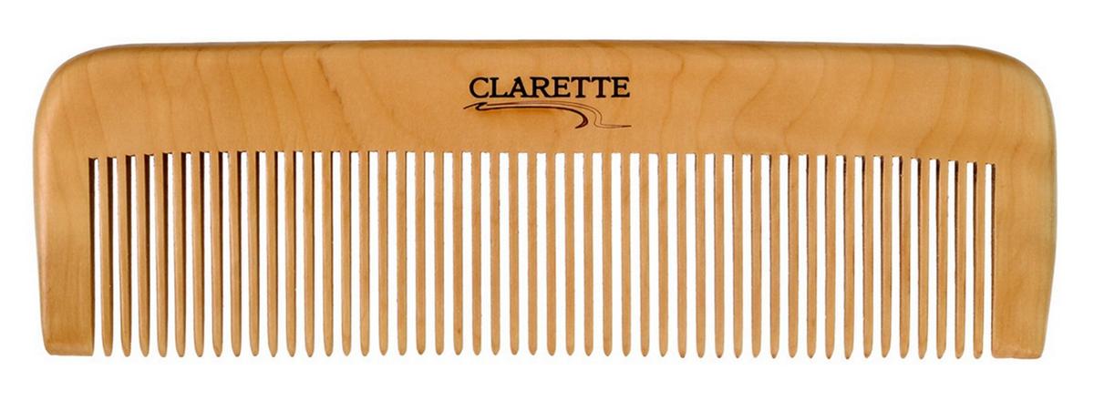 Clarette Расческа для волос деревянная прямая, цвет: бежевый