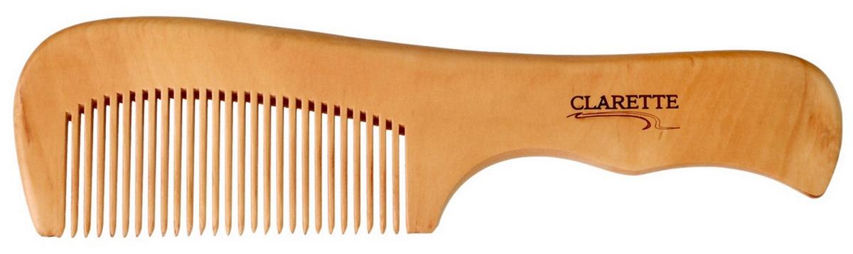 Clarette Расческа для волос деревянная с ручкой, цвет: бежевый