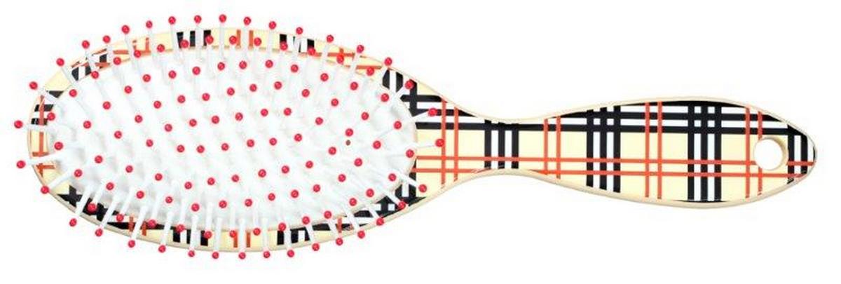 Clarette Щетка для волос на подушке овальная, цвет: бежевый клетка