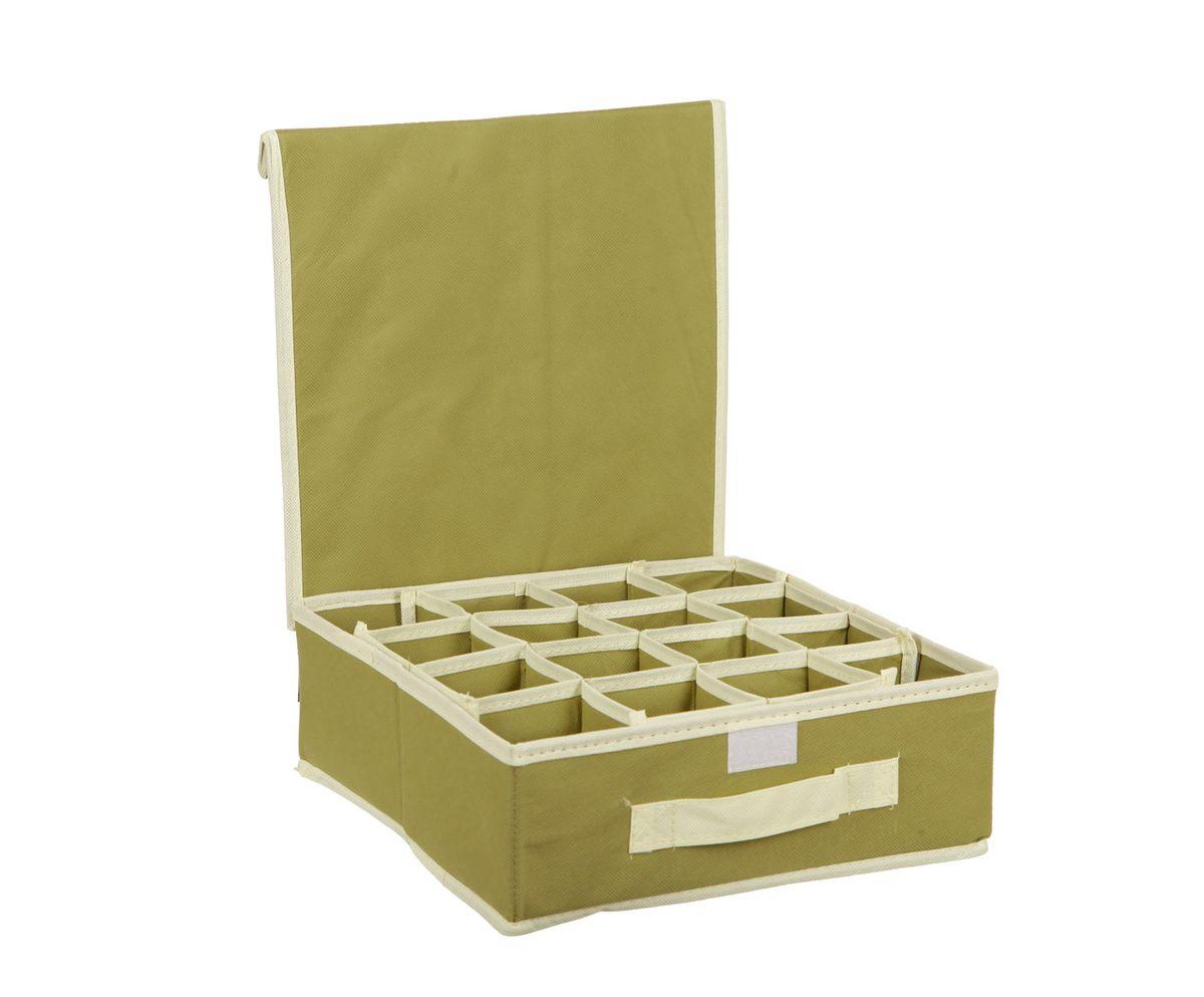Органайзер HomeMaster, для аксессуаров и нижнего белья, цвет: оливковый, 28 х 28 х 10 см