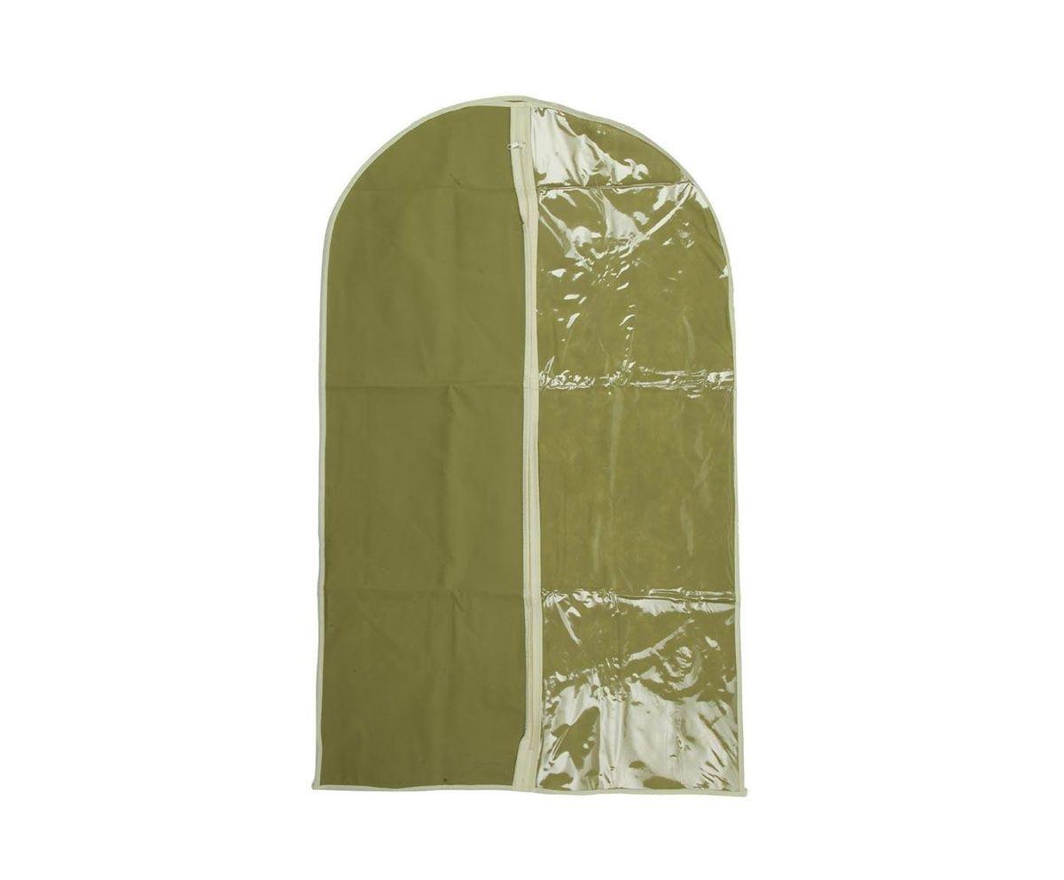 Чехол для хранения одежды HomeMaster, с прозрачным окном, цвет: оливковый, 60 х 100 х 1 см