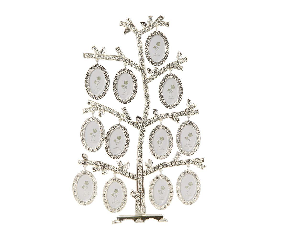 Фоторамка HomeMaster Фамильное дерево, цвет: серебристый, 18 х 7 х 27 смHQ409631Настольная фоторамка Семейное дерево, выполненная из металла с серебряно-никелевым покрытием, позволит вам украсить помещение оригинальным образом. Композиция представляет собой ствол дерева, на ветках которого расположены небольшие кольца для подвешивания небольших овальных фоторамок разного размера (входят в комплект). Ствол дерева и фоторамки украшены стразами. Декоративная композиция позволит сохранить на память изображения дорогих вам людей и интересных событий вашей жизни. для 12 фотографий 4 х 4 см.