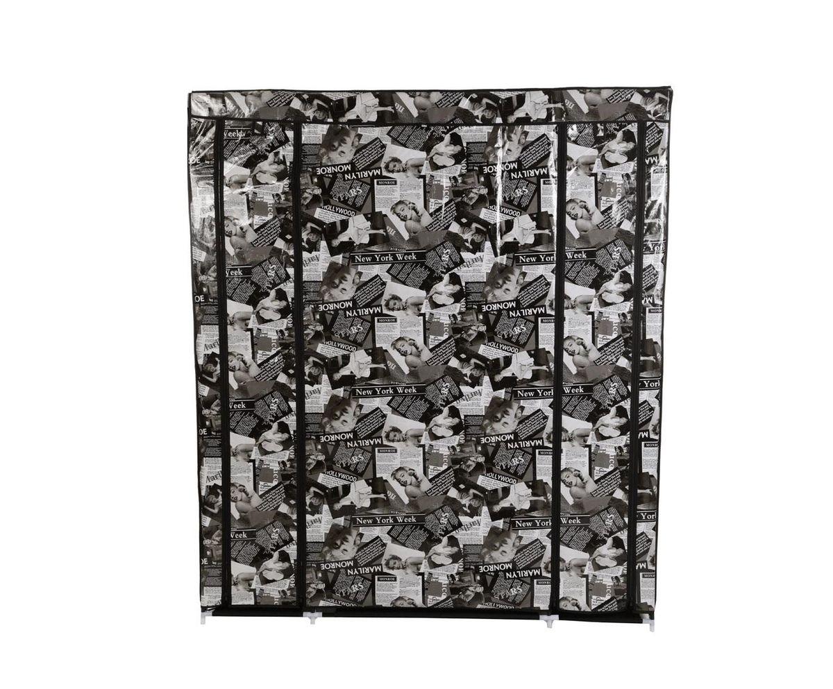 Гардероб для хранения одежды HomeMaster, цвет: черный, белый, 150 x 45 x 175 смW002Складной гардероб из ткани - это гениальное и практичное изобретение. Он поможет при переезде или в те моменты, когда к вам приезжают гости, или просто скопилось много одежды, например при смене сезонов. Гардероб имеет несколько секций с полками и вешалкой для одежды, легко складывается и очень компактно хранится, а вес составляет всего несколько килограмм. Замки-молнии на корпусе обепечат независимый доступ к любой из секций. Его современный и стильный дизайн оформленный фото коллажем впишется в любой интерьер. ВНИМАНИЕ! ПРИ СБОРКЕ ИСПОЛЬЗУЙТЕ ИНСТРУКЦИЮ. ВСЕ КОМПОНЕНТЫ ДОЛЖЫ БЫТЬ МАКСИМАЛЬНО СИЛЬНО ЗАФИКСИРОВАНЫ. ТКАНЕВОЕ ПОКРЫТИЕ СШИТО ТОЧНО ПО РАЗМЕРАМ ШКАФА.