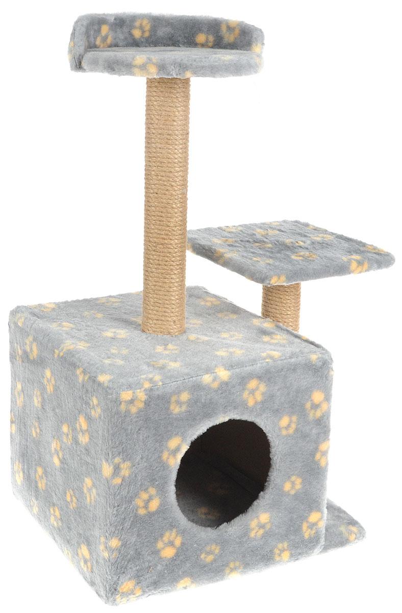 Игровой комплекс для кошек Меридиан, с домиком и когтеточкой, цвет: серый, желтый, бежевый, 35 х 45 х 75 смД130 Ла_серый, желтыйИгровой комплекс для кошек Меридиан выполнен из высококачественного ДВП и ДСП и обтянут искусственным мехом. Изделие предназначено для кошек. Ваш домашний питомец будет с удовольствием точить когти о специальные столбики, изготовленные из джута. А отдохнуть он сможет либо на полках разной высоты, либо в расположенном внизу домике. Общий размер: 35 х 45 х 75 см. Размер домика: 46 х 37 х 33 см. Высота полок (от пола): 74 см, 45 см. Размер полок: 27 х 27 см, 26 х 26 см.